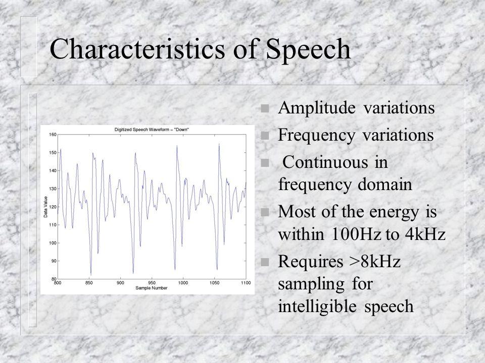Characteristics of Speech n Amplitude variations n Frequency variations n Continuous in frequency domain n Most of the energy is within 100Hz to 4kHz