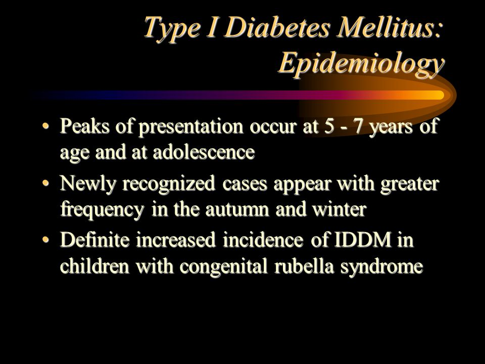 Type I Diabetes Mellitus: Diagnosis Diagnosis of IDDM is dependent on the demonstration of hyperglycemia in association with glucosuria with or without ketonuriaDiagnosis of IDDM is dependent on the demonstration of hyperglycemia in association with glucosuria with or without ketonuria DKA must be differentiated from acidosis and coma due to other causes:DKA must be differentiated from acidosis and coma due to other causes: –hypoglycemia, uremia, gastroenteritis with metabolic acidosis, lactic acidosis, salicylate intoxication, encephalitis