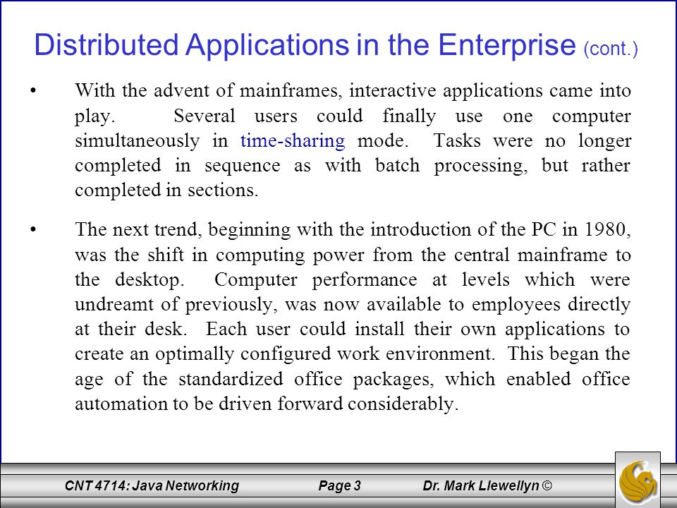 CNT 4714: Java Networking Page 104 Dr.