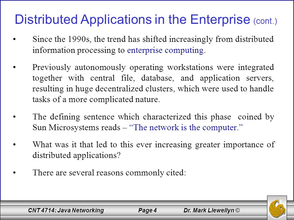 CNT 4714: Java Networking Page 65 Dr.