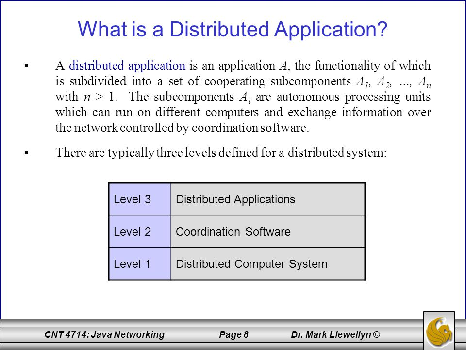CNT 4714: Java Networking Page 9 Dr.Mark Llewellyn © What is a Distributed Application.