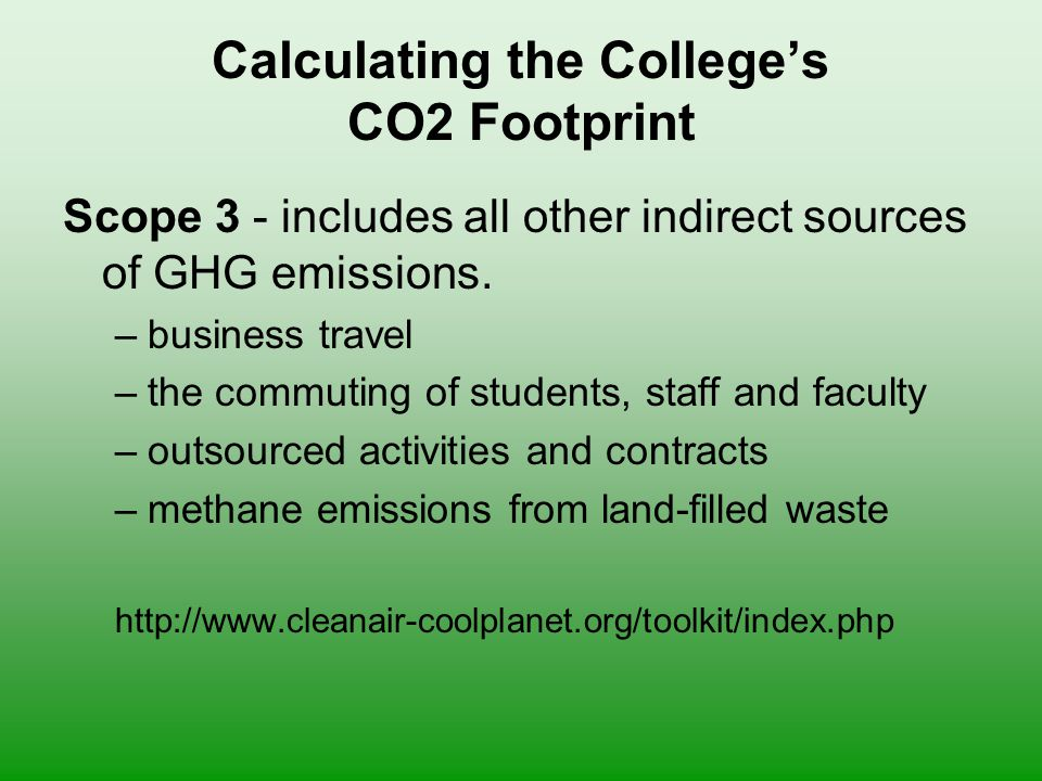 Calculating the College's CO2 Footprint Scope 3 - includes all other indirect sources of GHG emissions.