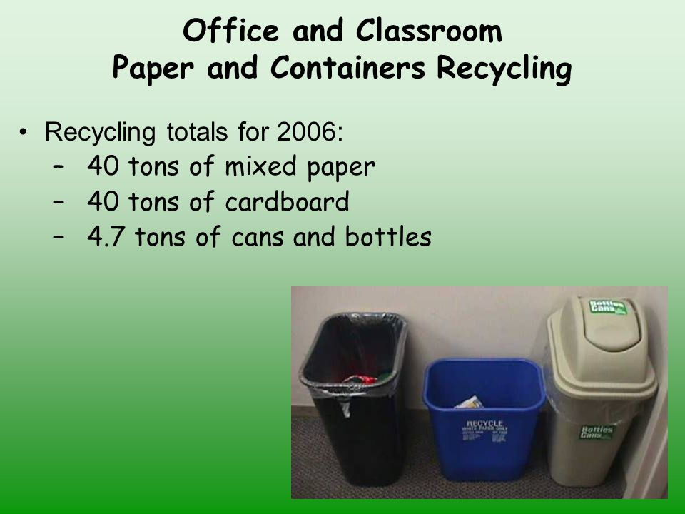 Office and Classroom Paper and Containers Recycling Recycling totals for 2006: –40 tons of mixed paper –40 tons of cardboard –4.7 tons of cans and bottles