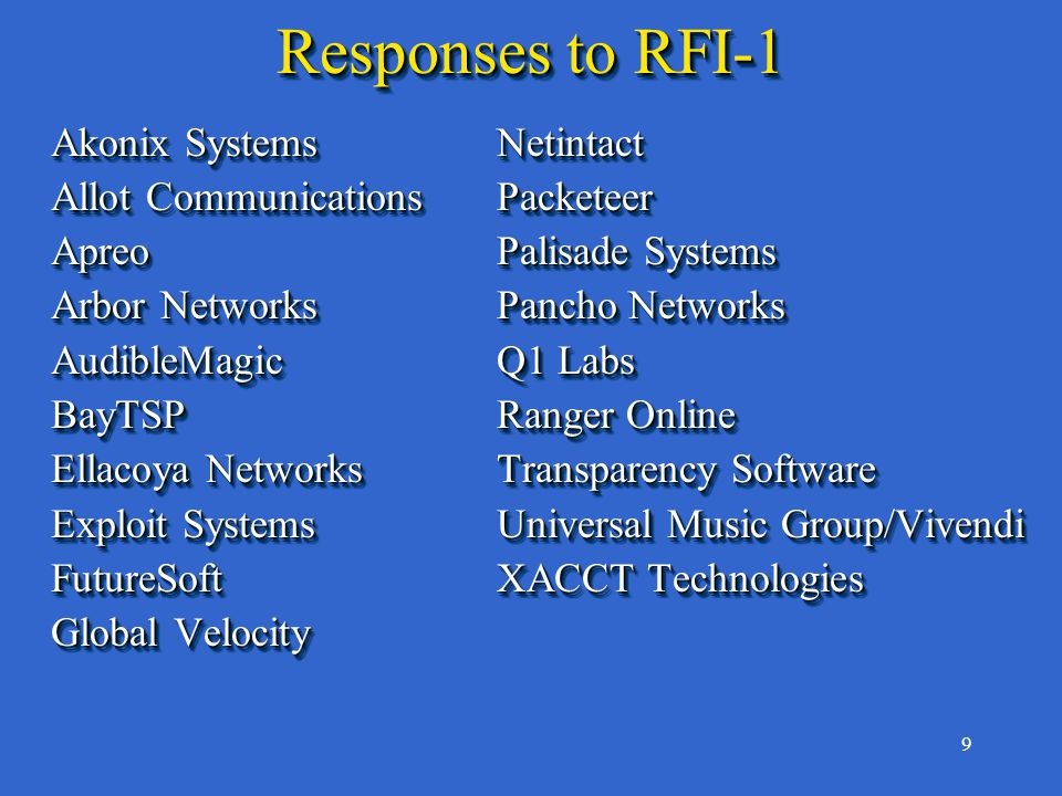 9 Responses to RFI-1 Akonix SystemsNetintact Allot CommunicationsPacketeer ApreoPalisade Systems Arbor NetworksPancho Networks AudibleMagicQ1 Labs BayTSPRanger Online Ellacoya NetworksTransparency Software Exploit SystemsUniversal Music Group/Vivendi FutureSoftXACCT Technologies Global Velocity Akonix SystemsNetintact Allot CommunicationsPacketeer ApreoPalisade Systems Arbor NetworksPancho Networks AudibleMagicQ1 Labs BayTSPRanger Online Ellacoya NetworksTransparency Software Exploit SystemsUniversal Music Group/Vivendi FutureSoftXACCT Technologies Global Velocity