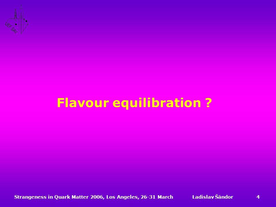 Strangeness in Quark Matter 2006, Los Angeles, 26-31 MarchLadislav Šándor4 Flavour equilibration