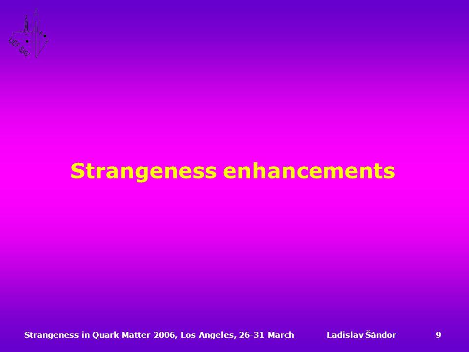 Strangeness in Quark Matter 2006, Los Angeles, 26-31 MarchLadislav Šándor9 Strangeness enhancements