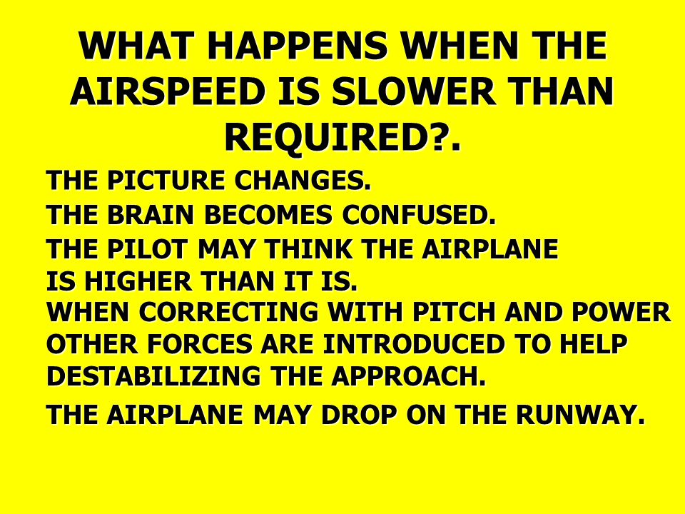 WHAT HAPPENS WHEN THE AIRSPEED IS SLOWER THAN REQUIRED .
