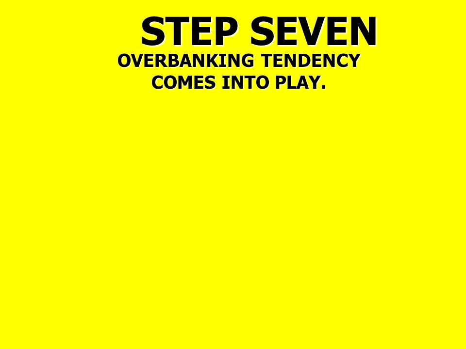 STEP SEVEN OVERBANKING TENDENCY COMES INTO PLAY.