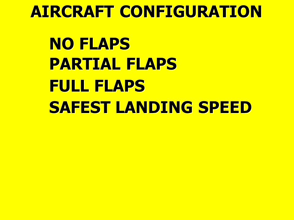 AIRCRAFT CONFIGURATION NO FLAPS PARTIAL FLAPS FULL FLAPS SAFEST LANDING SPEED