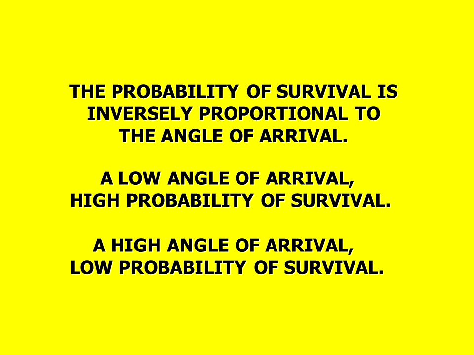 THE PROBABILITY OF SURVIVAL IS INVERSELY PROPORTIONAL TO THE ANGLE OF ARRIVAL.