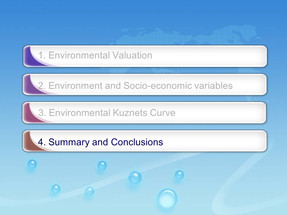 - 29 - 1. Environmental Valuation 2. Environment and Socio-economic variables 3.