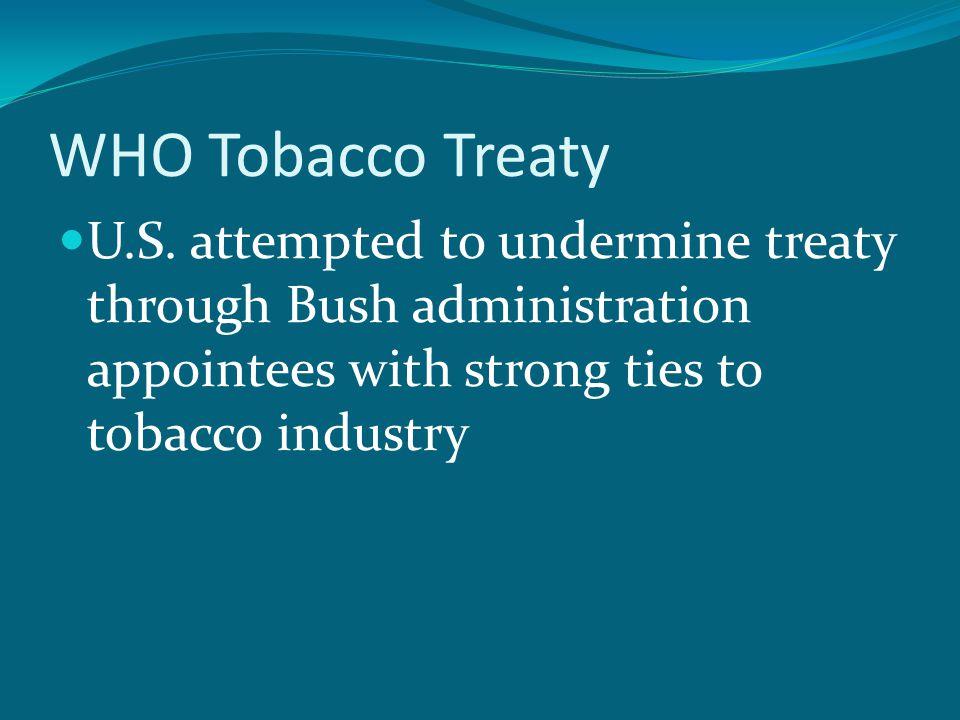 WHO Tobacco Treaty U.S.