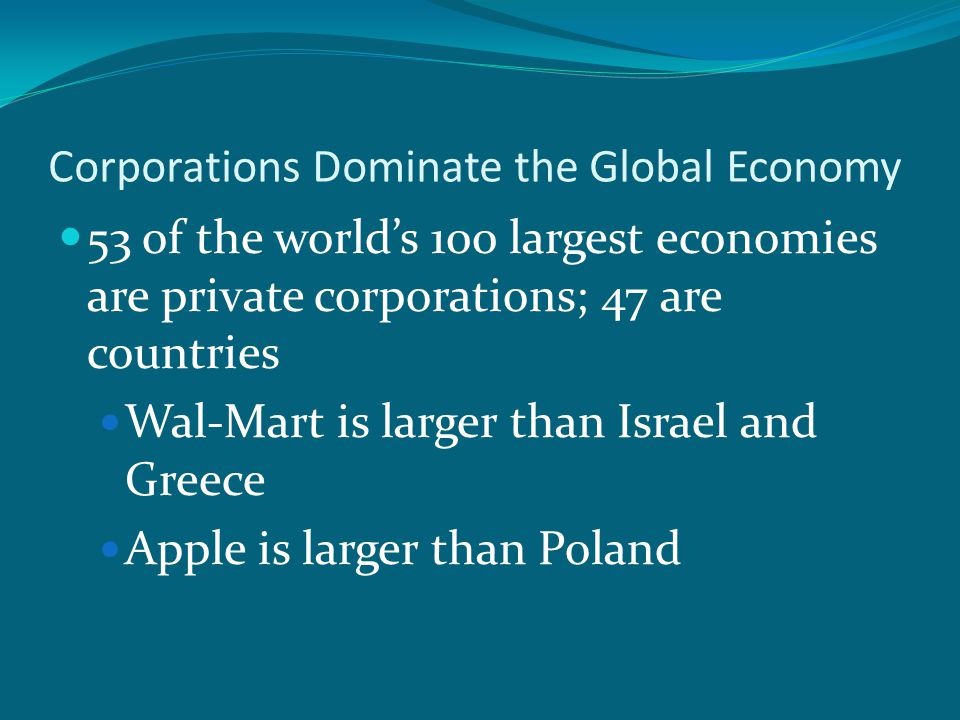 Corporations Dominate the Global Economy 53 of the world's 100 largest economies are private corporations; 47 are countries Wal-Mart is larger than Israel and Greece Apple is larger than Poland
