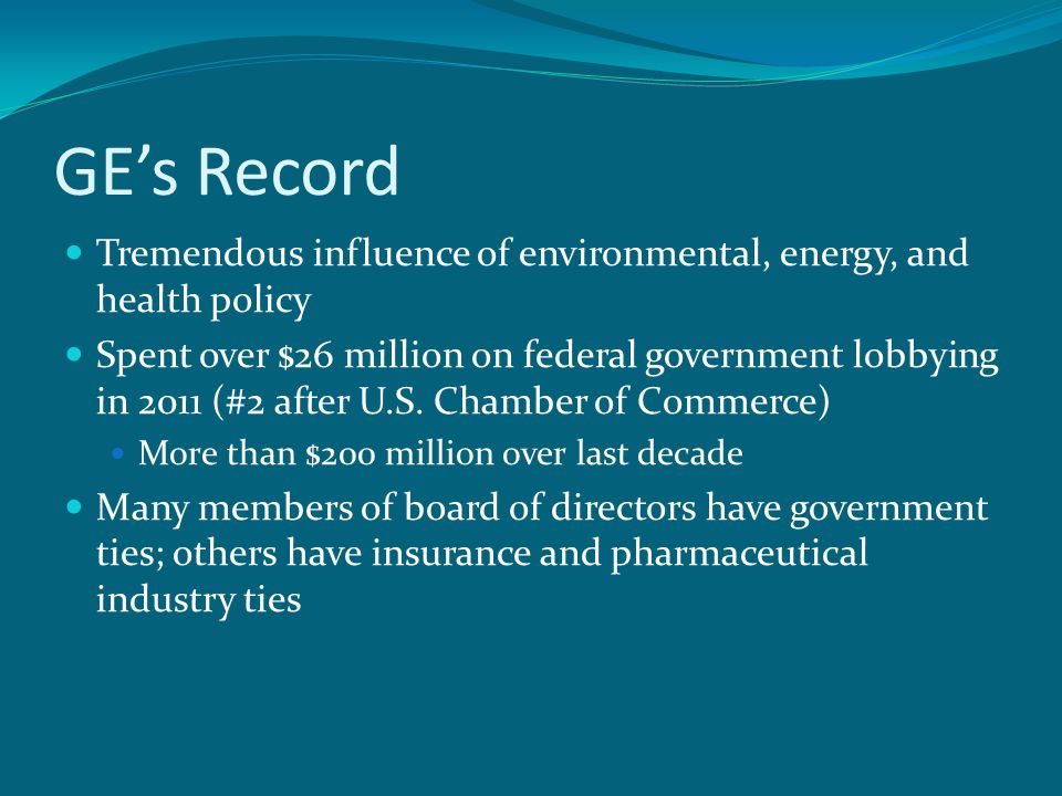 GE's Record Tremendous influence of environmental, energy, and health policy Spent over $26 million on federal government lobbying in 2011 (#2 after U.S.