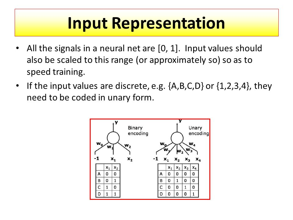 Input Representation All the signals in a neural net are [0, 1].