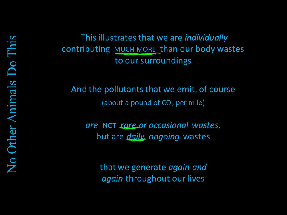 This illustrates that we are individually contributing MUCH MORE than our body wastes to our surroundings And the pollutants that we emit, of course (