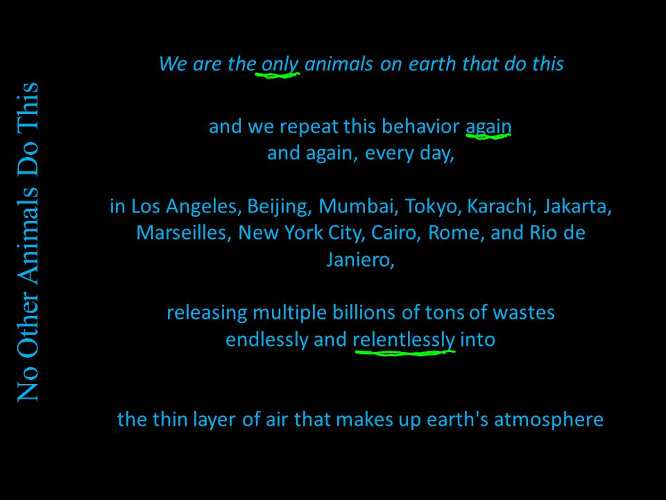 We are the only animals on earth that do this and we repeat this behavior again and again, every day, in Los Angeles, Beijing, Mumbai, Tokyo, Karachi, Jakarta, Marseilles, New York City, Cairo, Rome, and Rio de Janiero, releasing multiple billions of tons of wastes endlessly and relentlessly into the thin layer of air that makes up earth s atmosphere