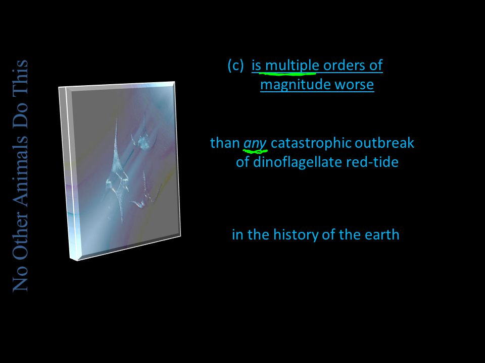 (c)is multiple orders of magnitude worse than any catastrophic outbreak of dinoflagellate red-tide in the history of the earth No Other Animals Do This