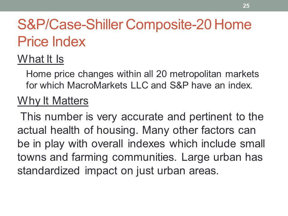 S&P/Case-Shiller Composite-20 Home Price Index What It Is Home price changes within all 20 metropolitan markets for which MacroMarkets LLC and S&P have an index.