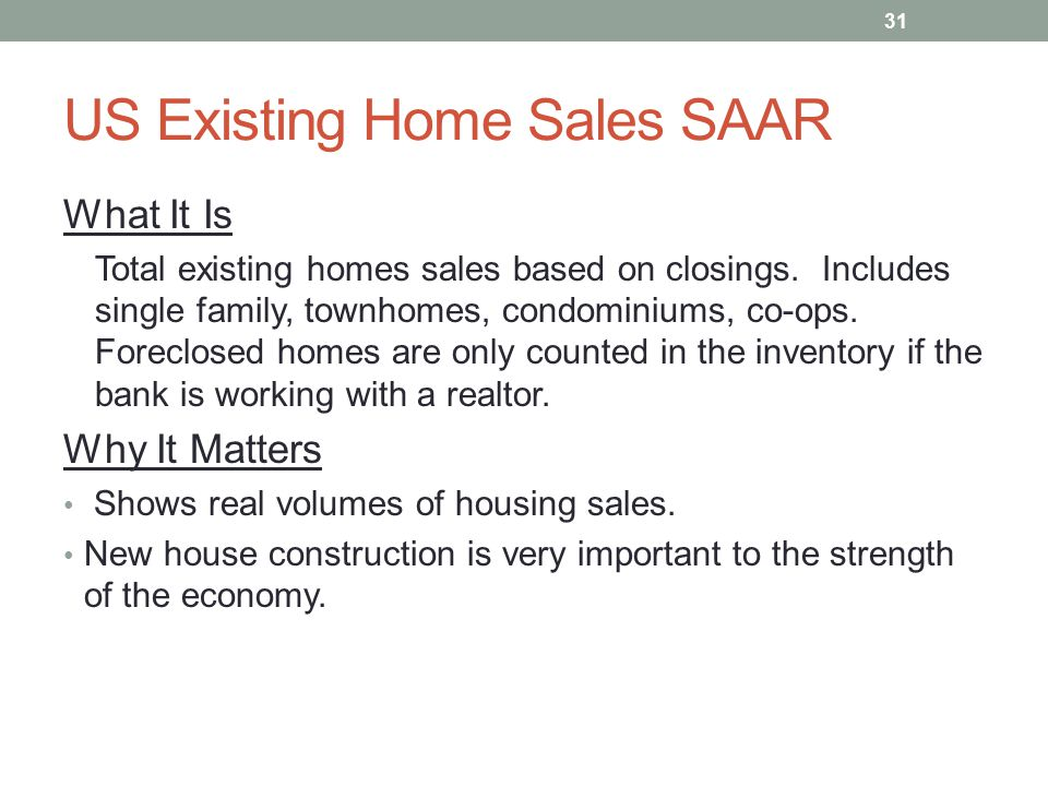 US Existing Home Sales SAAR What It Is Total existing homes sales based on closings. Includes single family, townhomes, condominiums, co-ops. Foreclos