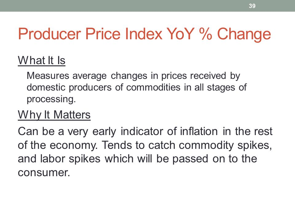 Producer Price Index YoY % Change What It Is Measures average changes in prices received by domestic producers of commodities in all stages of processing.