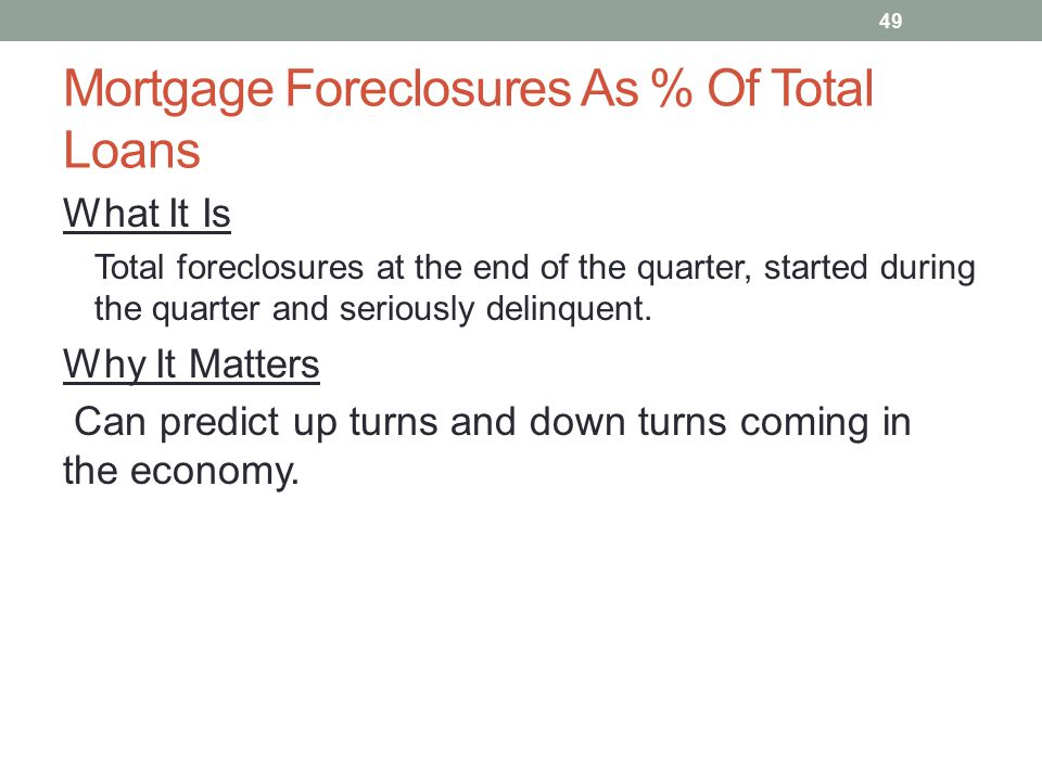 Mortgage Foreclosures As % Of Total Loans What It Is Total foreclosures at the end of the quarter, started during the quarter and seriously delinquent.