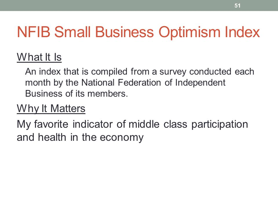 NFIB Small Business Optimism Index What It Is An index that is compiled from a survey conducted each month by the National Federation of Independent B