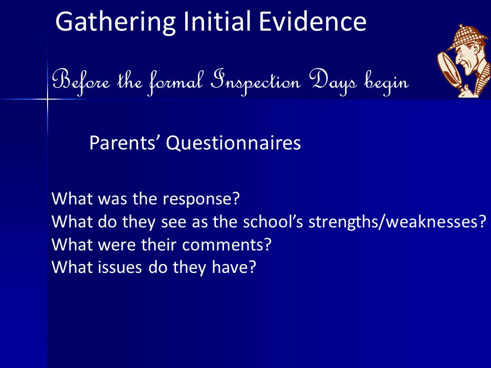 Gathering Initial Evidence Before the formal Inspection Days begin Parents' Questionnaires What was the response.