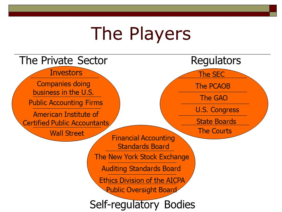 The Players The Private Sector Self-regulatory Bodies Regulators The SEC U.S.