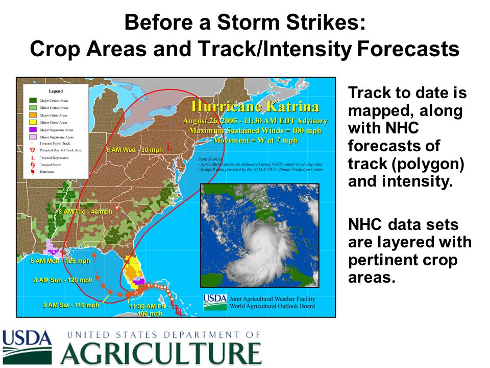 Before a Storm Strikes: Crop Areas and Track/Intensity Forecasts Track to date is mapped, along with NHC forecasts of track (polygon) and intensity. N