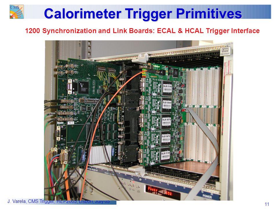 11 J. Varela, CMS Trigger, HEP2005, Lisbon, July 05 Calorimeter Trigger Primitives 1200 Synchronization and Link Boards: ECAL & HCAL Trigger Interface