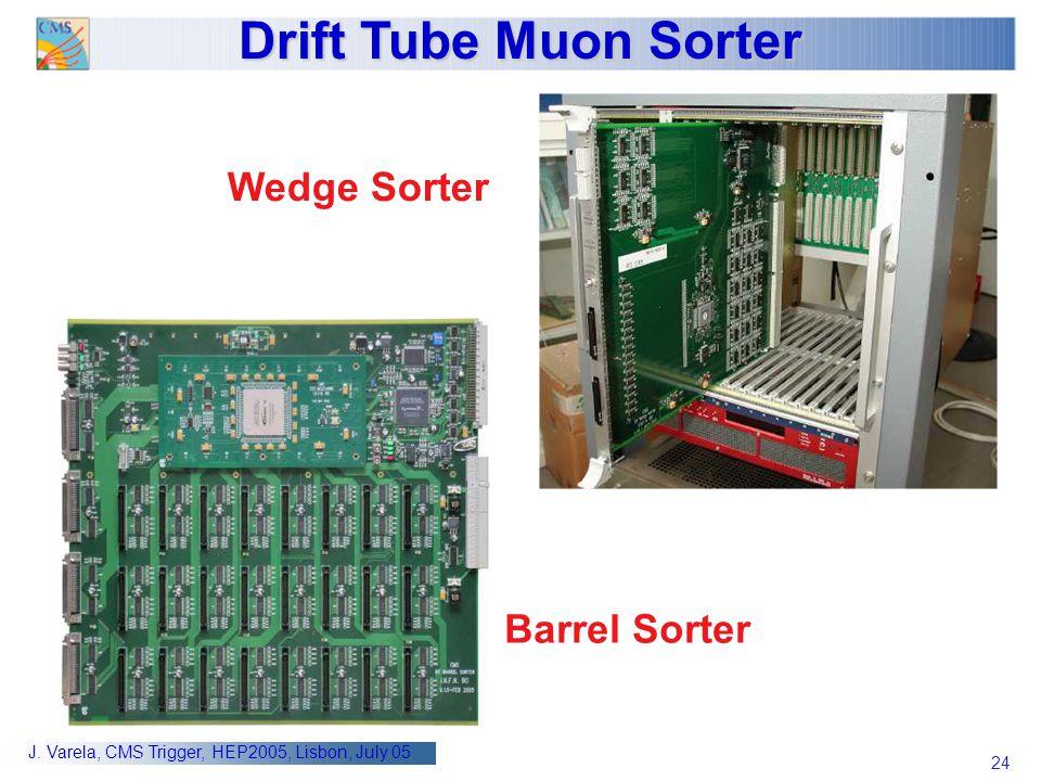 24 J. Varela, CMS Trigger, HEP2005, Lisbon, July 05 Drift Tube Muon Sorter Wedge Sorter Barrel Sorter