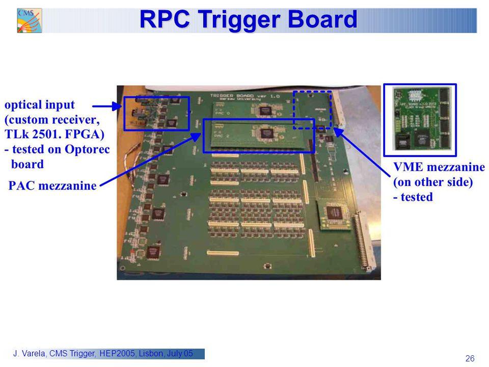 26 J. Varela, CMS Trigger, HEP2005, Lisbon, July 05 RPC Trigger Board