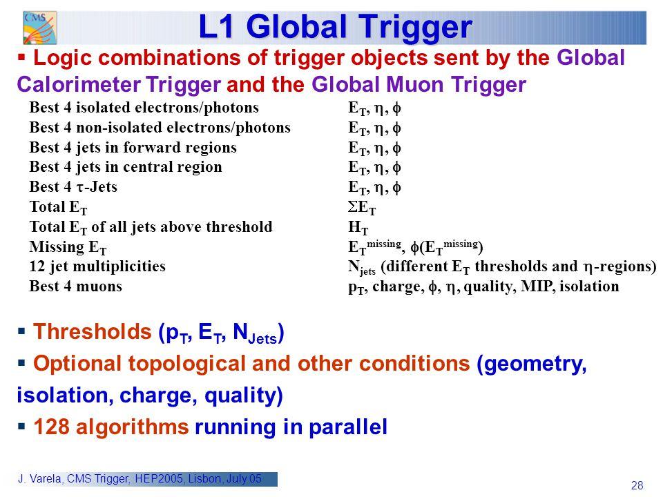 28 J. Varela, CMS Trigger, HEP2005, Lisbon, July 05 L1 Global Trigger  Logic combinations of trigger objects sent by the Global Calorimeter Trigger a