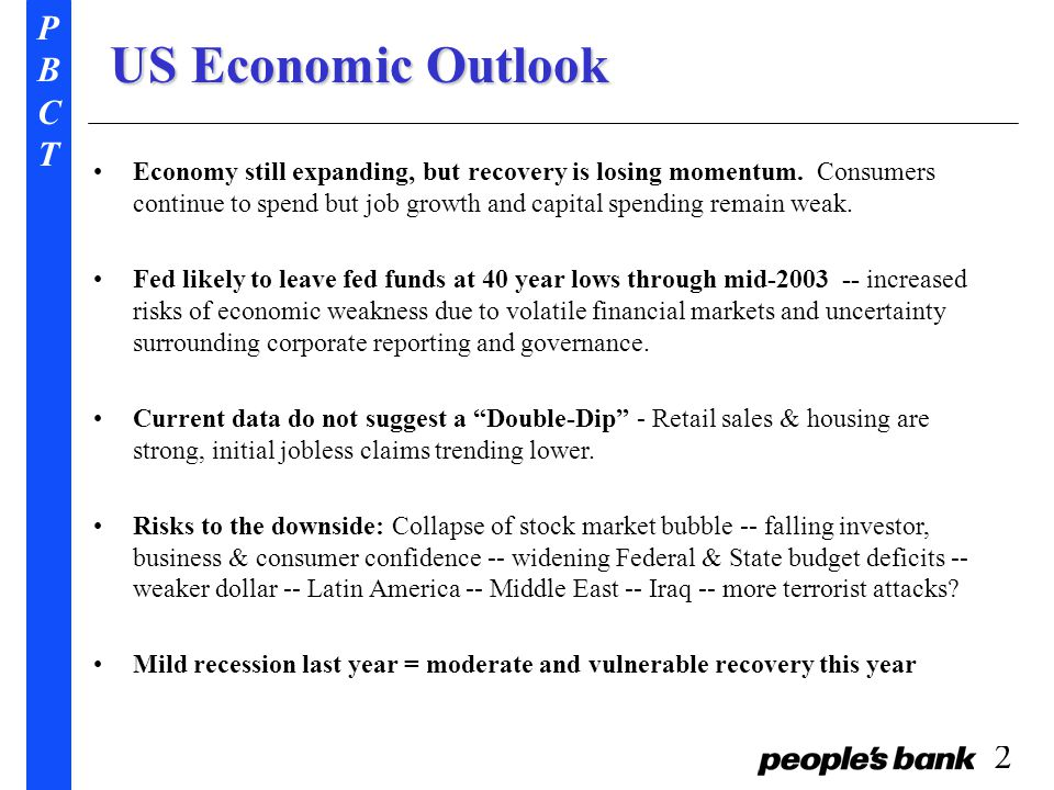 PBCTPBCT 2 US Economic Outlook Economy still expanding, but recovery is losing momentum.