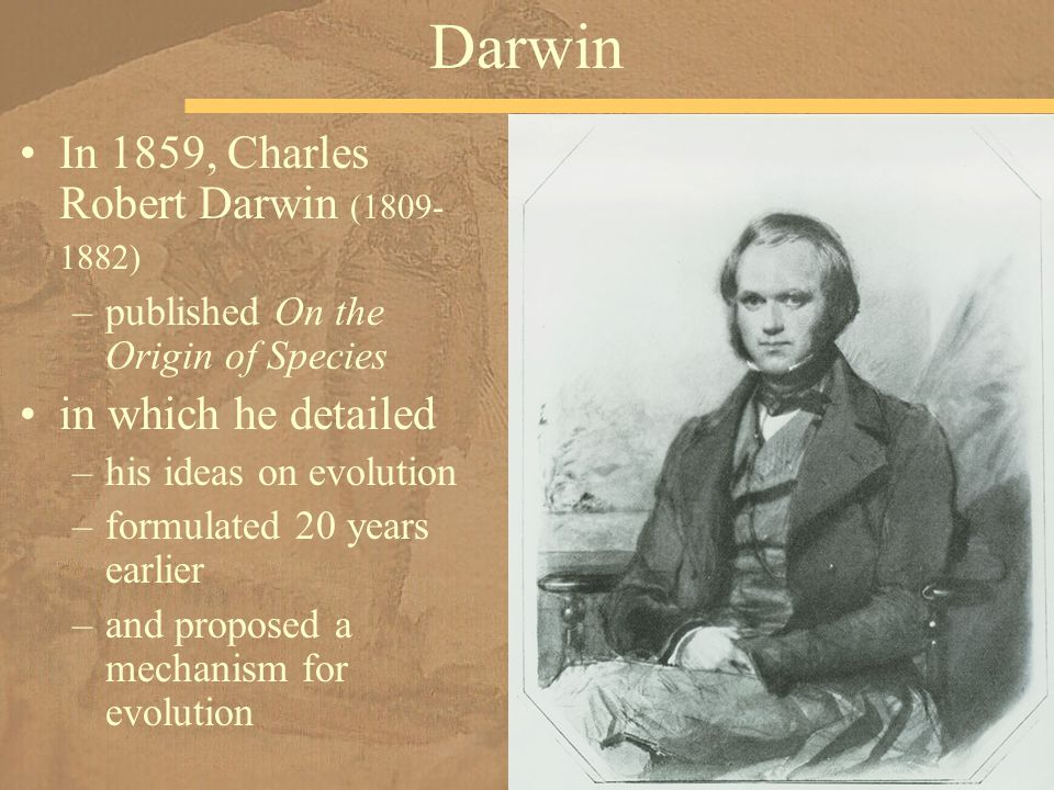 In 1859, Charles Robert Darwin (1809- 1882) –published On the Origin of Species in which he detailed –his ideas on evolution –formulated 20 years earl