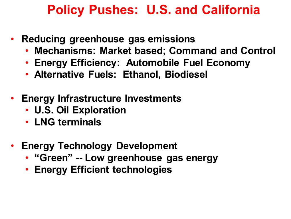 Bottom Line Increases of economic efficiency can be accomplished through decreases of energy use – energy efficiency improvements –In principle, based on understanding of market failures –In practice, based on observations of options and human choices –In practice, based on technology and systems innovation The potential, I believe, is large for improvements in energy efficiency