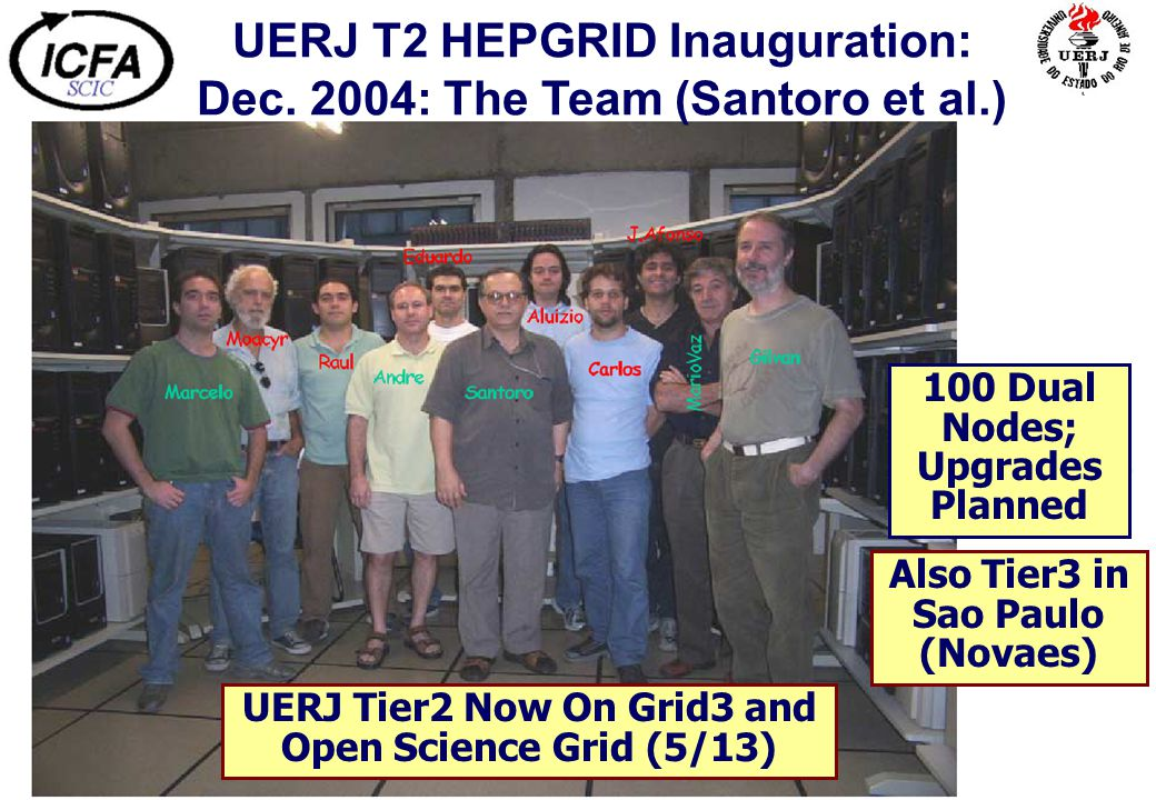 UERJ T2 HEPGRID Inauguration: Dec. 2004: The Team (Santoro et al.) UERJ Tier2 Now On Grid3 and Open Science Grid (5/13) 100 Dual Nodes; Upgrades Plann