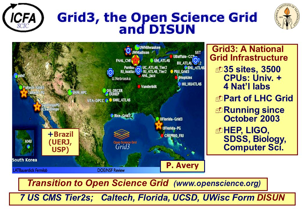 Grid3, the Open Science Grid and DISUN Grid3: A National Grid Infrastructure  35 sites, 3500 CPUs: Univ. + 4 Nat'l labs  Part of LHC Grid  Running
