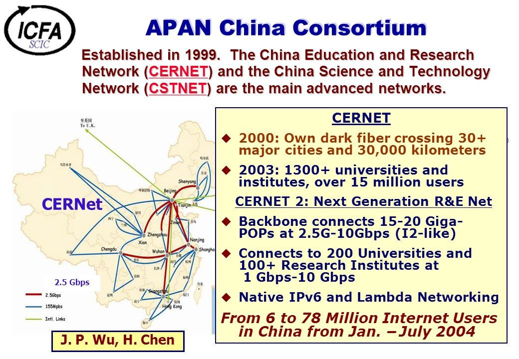 APAN China Consortium Established in 1999. The China Education and Research Network (CERNET) and the China Science and Technology Network (CSTNET) are