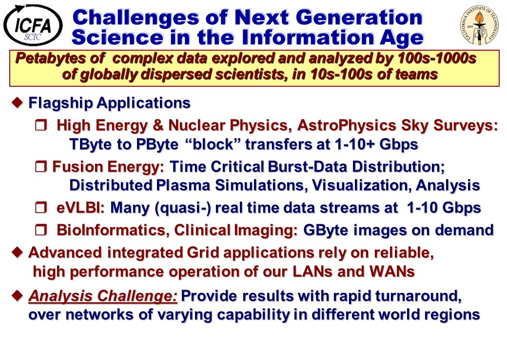 Challenges of Next Generation Science in the Information Age  Flagship Applications  High Energy & Nuclear Physics, AstroPhysics Sky Surveys: TByte to PByte block transfers at 1-10+ Gbps  Fusion Energy: Time Critical Burst-Data Distribution; Distributed Plasma Simulations, Visualization, Analysis  eVLBI: Many (quasi-) real time data streams at 1-10 Gbps  BioInformatics, Clinical Imaging: GByte images on demand  Advanced integrated Grid applications rely on reliable, high performance operation of our LANs and WANs  Analysis Challenge: Provide results with rapid turnaround, over networks of varying capability in different world regions Petabytes of complex data explored and analyzed by 100s-1000s of globally dispersed scientists, in 10s-100s of teams