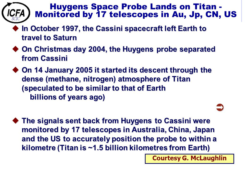 Huygens Space Probe Lands on Titan - Monitored by 17 telescopes in Au, Jp, CN, US uIn October 1997, the Cassini spacecraft left Earth to travel to Saturn uOn Christmas day 2004, the Huygens probe separated from Cassini uOn 14 January 2005 it started its descent through the dense (methane, nitrogen) atmosphere of Titan (speculated to be similar to that of Earth billions of years ago)  uThe signals sent back from Huygens to Cassini were monitored by 17 telescopes in Australia, China, Japan and the US to accurately position the probe to within a kilometre (Titan is ~1.5 billion kilometres from Earth) Courtesy G.