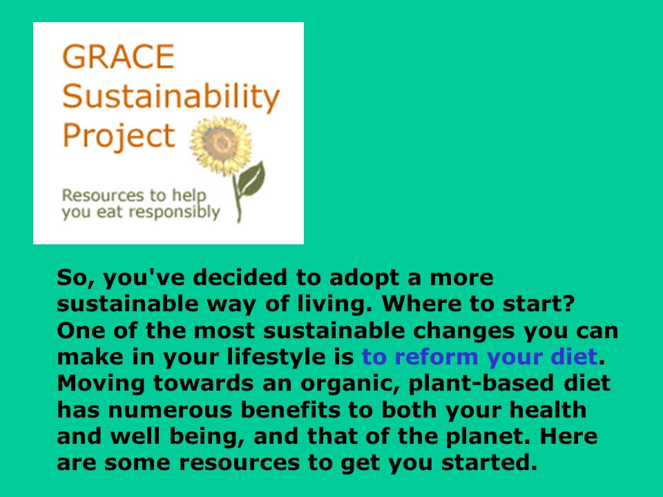 So, you ve decided to adopt a more sustainable way of living.