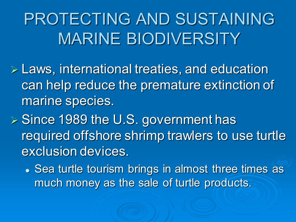 PROTECTING AND SUSTAINING MARINE BIODIVERSITY  Laws, international treaties, and education can help reduce the premature extinction of marine species
