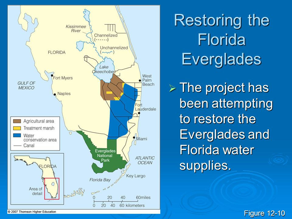 Restoring the Florida Everglades  The project has been attempting to restore the Everglades and Florida water supplies. Figure 12-10