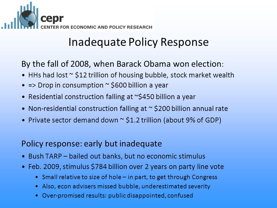 Inadequate Policy Response By the fall of 2008, when Barack Obama won election : HHs had lost ~ $12 trillion of housing bubble, stock market wealth => Drop in consumption ~ $600 billion a year Residential construction falling at ~$450 billion a year Non-residential construction falling at ~ $200 billion annual rate Private sector demand down ~ $1.2 trillion (about 9% of GDP) Policy response: early but inadequate Bush TARP – bailed out banks, but no economic stimulus Feb.
