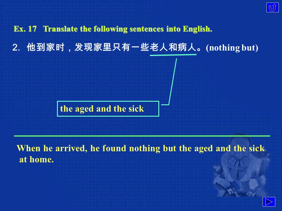 Ex. 17Translate the following sentences into English. 1. 我们认为你的建议不恰当,应该放弃。 (in place) give it up We don't think your proposal quite in place, so you s