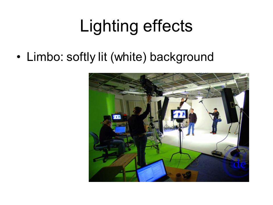 Lighting effects Limbo: softly lit (white) background
