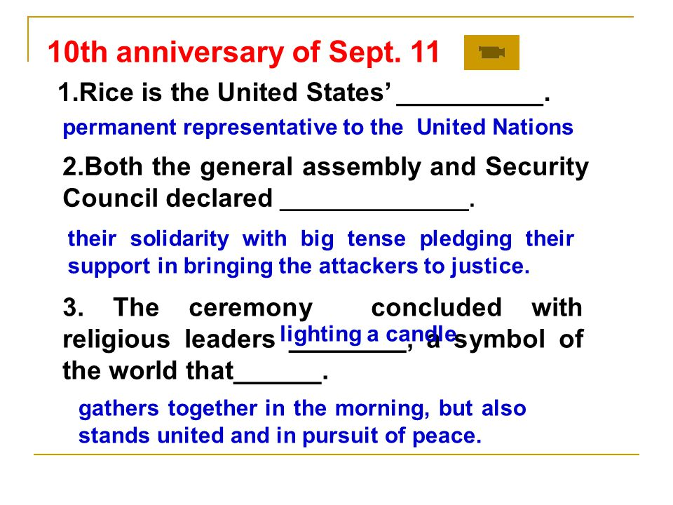 10th anniversary of Sept. 11 1.Rice is the United States' __________.