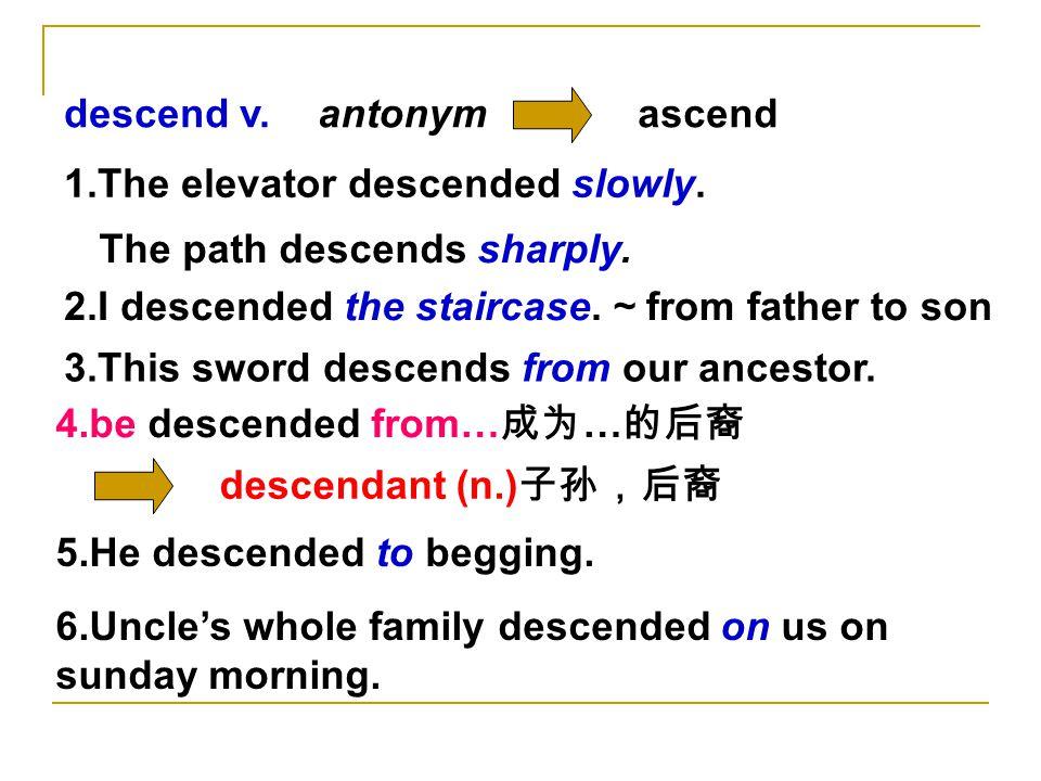 descend v.ascendantonym 1.The elevator descended slowly.